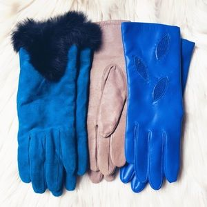 Genuine Leather & Rabbit Fur Vintage Gloves